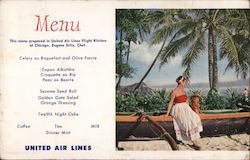 United Air Lines Menu