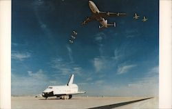 "N.A.S.A.'s 747 and T-38 chase planes salute a successful landing of Space Shuttle ""Enterprise"". Postcard"