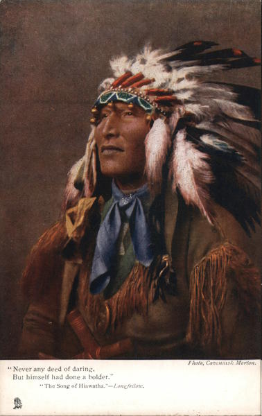 Portrait of Indian in Headdress Native Americana
