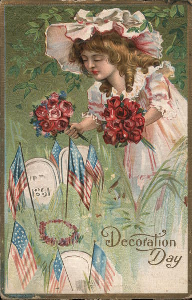 Girl with flowers - Decoration Day Memorial Day