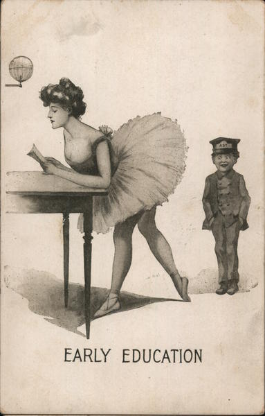 Boy Looking Up Woman in TuTu: Early Education Comic