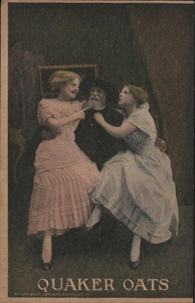Quaker Oats - Two women sitting on the Quaker Oats man's lap