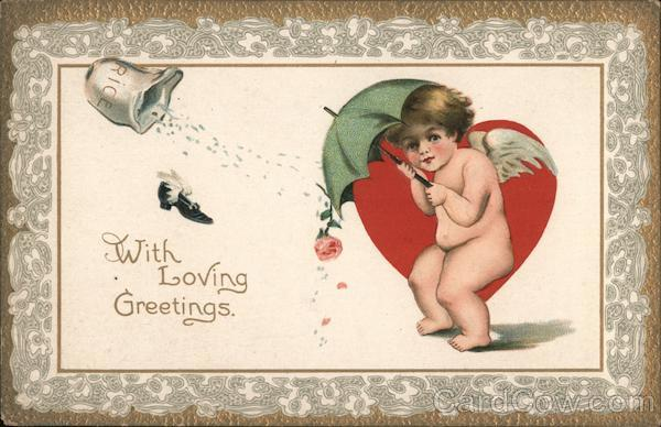 Cupid shielding himself: With Loving Greetings