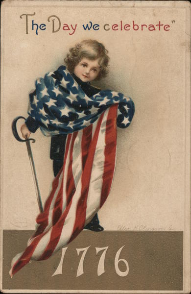 Boy draped in flag - The Day we celebrate, 1776 4th of July
