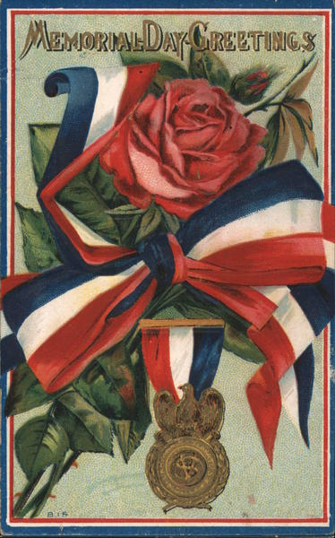 Red rose w/ ribbon, Sons of Union Veterans of the Civil War medal