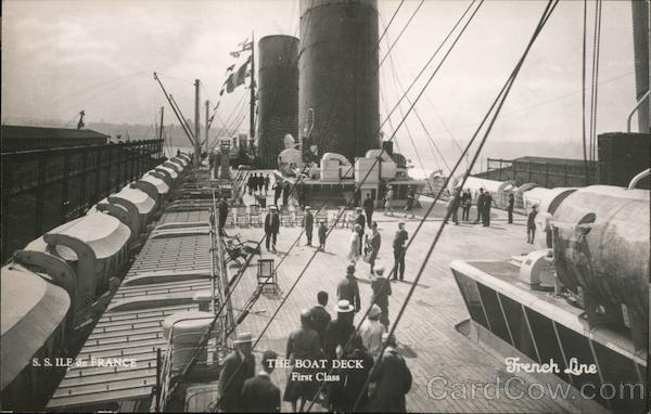 S.S. Ile de France, The Boat Deck, French Line Steamers