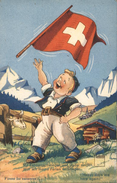 Boy with Swiss flag: Happy days are here again!