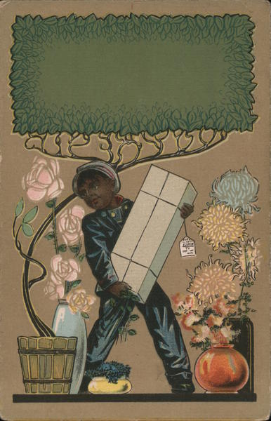 Black Delivery Boy Delivering Flowers Black Americana