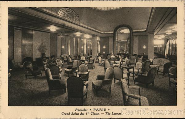 1st class lounge on board the Paris Boats, Ships