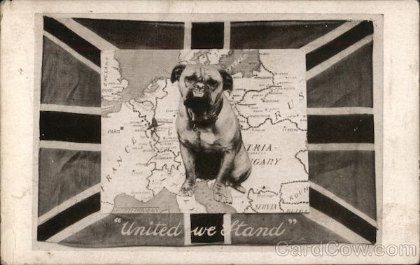 United we Stand - A British bulldog sits on a map of Europe