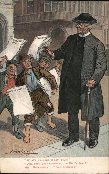 Boys selling newspapers to a reverend Cartoons