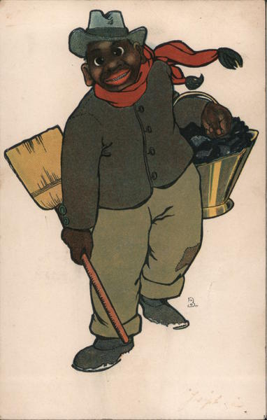 Black Man Carrying Coal and Broom Black Americana