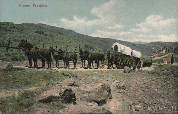 Team of Horses Pulls Wagons Through American Frontier