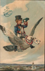 Man Delivering Valentine by Flying on Bird: To My Valentine
