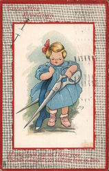 Young girl carrying giant pair of scissors and cutting a sock Postcard