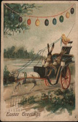 Bunnies Riding in Cart Pulled by Goat - Easter Greetings