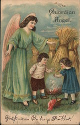 Guardian angel watching over two children Postcard