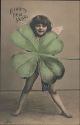 A Happy New Year - Cherub and Large 4-Leaf Clover