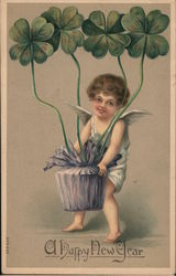 Cherub Carrying a Basket of 4-Leaf Clovers