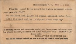 Motorcycle Equipment Co., Hammondsport, NY Autoparts Quote Postcard