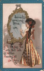 Woman Reading Message In Mirror Postcard