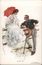 "Man with pitchfork talking to woman with parasol: ""Making hay"""