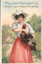May Glad Thanksgiving Crown Your Days and Years - Woman Holding Turkey