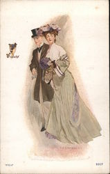 Couple dressed in violet Postcard