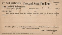 Order Card for The German Nurseries and Seed House