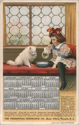 1910 Calendar - Girl & Dog Drink Milk Out of a Bowl