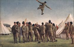 Tossing the Blanket - soldiers in camp