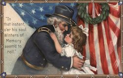 "Veteran soldier hugging girl - ""In that instant, o'er his soul winters of memory seem'd to roll"""