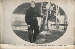 C. Grahame White and his monoplane, Belmont Park, 1910