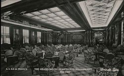 The Grand Salon, Sumptuous, Magnificent, First Class, S.S. Ile de France