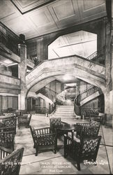Main foyer and grand staircase of the S.S. Ile de France, French Line flagship
