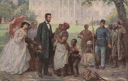 Abraham Lincoln and the Contrabands Postcard