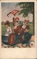 Harvard fans riding in an early automobile
