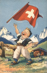 "Boy with Swiss flag: ""Happy days are here again!"""