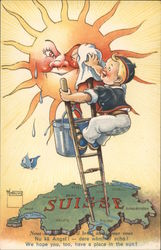We Hope You, Too, Have a Place in the Sun! - Boy Cleaning Sun Over Map of Switzerland Postcard