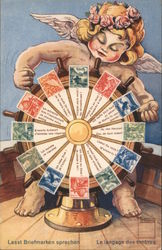 The Language of Stamps - Cherub, Ship's Wheel and Stamps