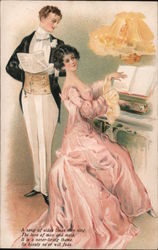 Couple Singing and Playing Piano Postcard