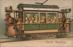 Easter Greetings - Chickens riding in a streetcar With Chicks Postcard