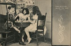 Three of a Kind, Beats Two Pair - Three Girls Playing Cards
