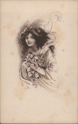 Young Woman Holding Flowers Postcard