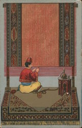 Middle Eastern Man Weaving Carpet Postcard