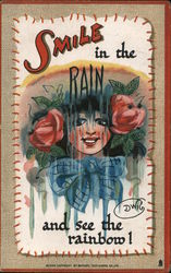 Smile in the Rain and See the Rainbow - Girl Dripping Wet Postcard