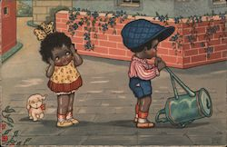 A Couple of Black Children with Watering Can