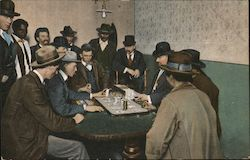Men Gathered Around Table Gambling Postcard