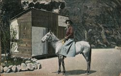 Woman seated on horse in front of shack Postcard
