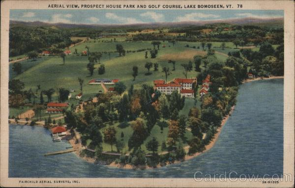 Aerial View, Prospect House Park and Golf Course Lake Bomoseen Vermont